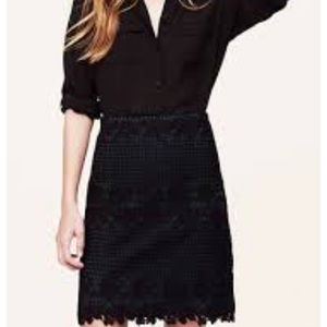 LOFT lace overlay pencil skirt 0P - professional